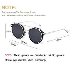 Clip on Sunglasses Steampunk Metal Retro Circle Double Lens Vintage Round Mirror Lens for Women Men(Black Lens+Silver Frame) #2