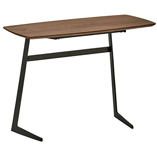 Amazon Brand - Rivet Industrial Tilted Wood & Metal End/Side Table, 38 x 80 x 60cm, MDF with Walnut Veneer/Black Metal