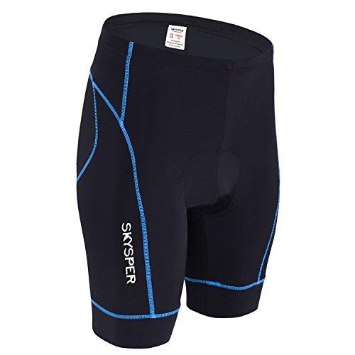 SKYSPER Pantalones Cortos de Ciclismo Bicicleta para Hombres Mujeres 3D Gel Acolchado con Tiras Reflectantes Transpirable y Cómodo Secado Rápido para Correr Senderismo Bici
