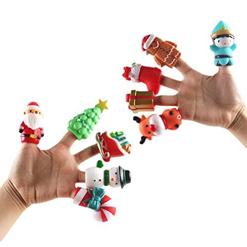 10 unids/set divertido dedo marionetas Santa Claus árbol de Navidad diseño de dibujos animados mano marioneta juguete regalo de Navidad para niños