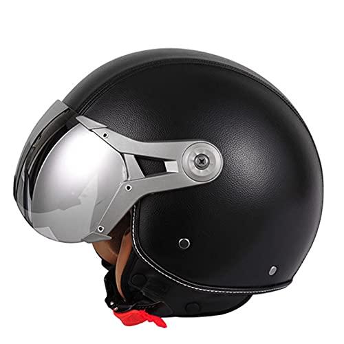 DDZY Casco Jet Casco de Motocicleta Casco de Scooter ciclomotor Casco de ciclomotor Machete Retro Vespa Retro piloto Motorista ECE 22.05 Visera Solar,Negro,L