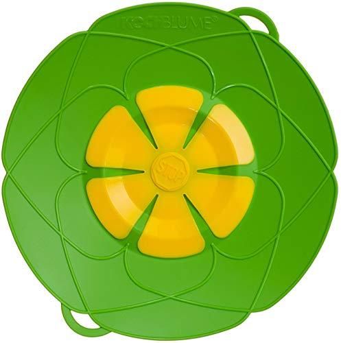 Kochblume vom Erfinder Armin Harecker M 25,5 cm limette   Überkochschutz für Topfgrößen von Ø 14 bis 20 cm   Set mit Microfasertuch!