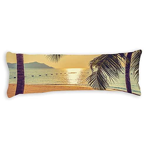 Funda de almohada de algodón de 137 x 50 cm con cremallera, funda de almohada de cuerpo de palmera tropical, funda de almohada decorativa floral para cama para niños para niños y niñas