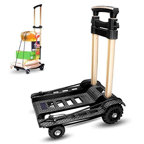 Opfury, carrello pieghevole in alluminio, carrello a mano pieghevole con ruota silenziosa, carrello pieghevole a 4 ruote con elastico, carico massimo 40 kg