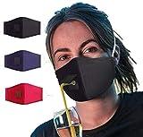 Lamye 3 unidades de protección para beber, protección con agujero de pajita, transpirable, lavable, reutilizable, algodón, bandanas unisex para exteriores