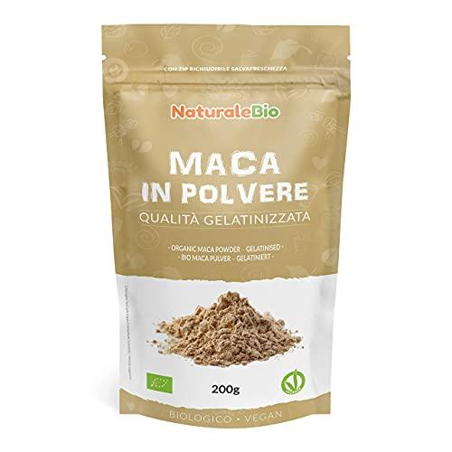 Maca Peruviana Biologica in Polvere 200g. 100% Naturale e Pura, Prodotto in Perù dalla Radice di Maca Bio - Gelatinizzata - NaturaleBio