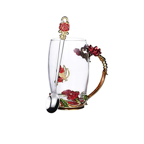 SMNVCKJ Emaille Kaffeetasse, Glas Tasse-Enthält Löffel, 3D Rose Schmetterling Glas Tasse Geschenk Für Lehrer (rot,350 ml)