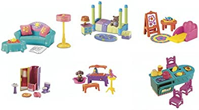 Dora the Explorer Talking Dollhouse Multi Pack Furniture Set - Playroom, Bedroom, Living Room, Kitchen, Bathroom and Pet Set (Packaged in White Box - See Picture)