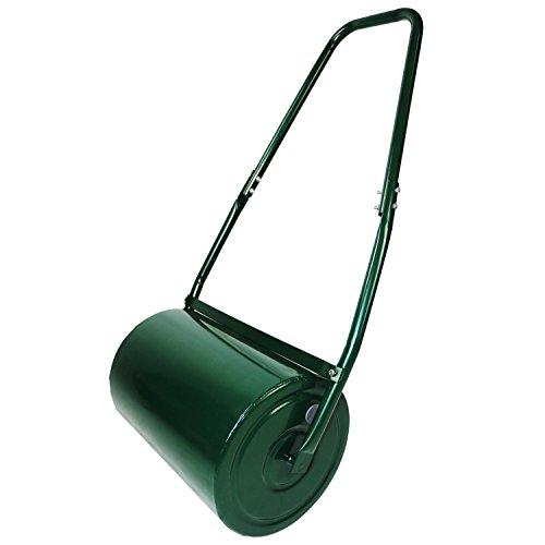 Oypla Galvanisierter Garten-Stahl-Rasen-Rolle 30 Liter-Trommel-Schaber-Stange u. Zusammenklappbarer Griff Schaffen Sie einen Rasen, der eines Schüssel-Grüns würdig ist