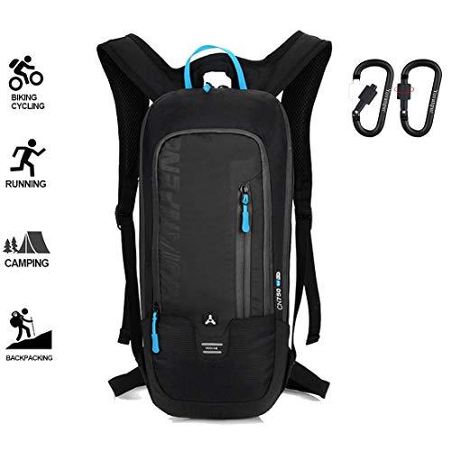 Yovanpur Fahrrad-Rucksack, wasserdicht, atmungsaktiv, 10 l, ultraleichter Mini-Fahrrad-Tagesrucksack für Fitness, Laufen, Wandern, Camping, Klettern, Skifahren, Trekking (Schwarz)