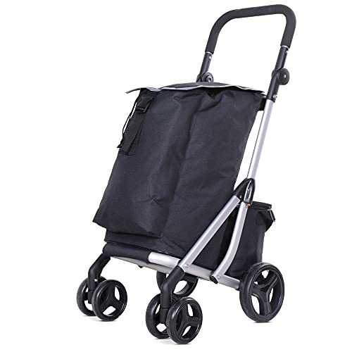 Premium Shopping Trolley Shopping 6 Wheeled Cart Push Along Rolling Trolley...