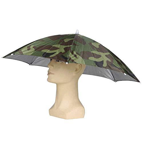 Heart Service - Sombrero Plegable con Forma de Paraguas, diseño de Camuflaje, para Actividades al Aire Libre para niños