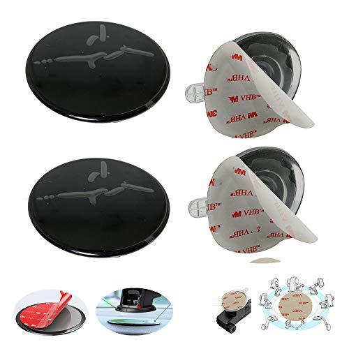 MeetRade 2 discos de montaje para tablero de salpicadero para soporte de teléfono con ventosa de montaje para GPS Sat Nav Dash Cam Soporte de soporte de soporte salpicadero con adhesivo 80 mm