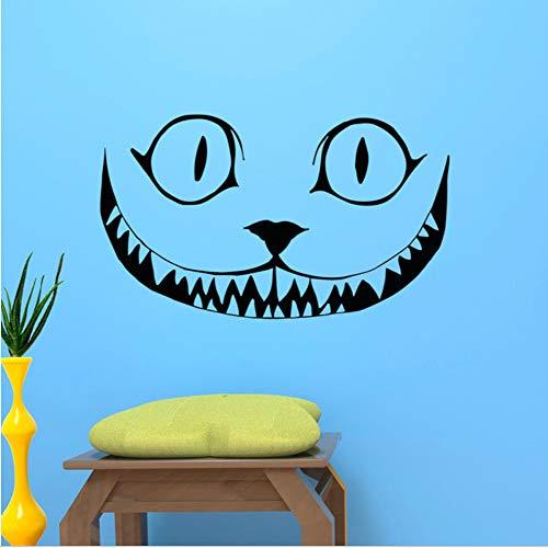 Gato Animal Tatuajes de pared Alicia en el País de las Maravillas Salón Carteles de Pared Mural Extraíble Vinilo Pegatinas de Pared 42X72 cm