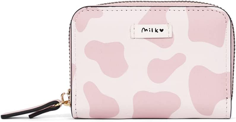 Cute Cow Print Credit Card Holder- Accordian Zipper Card Case Wallet Cash Pockets Coin Purse for Women