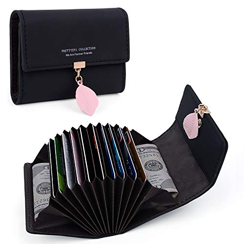 UTO Portafoglio Donna Foglia Pendente Porta carte di credito 12 slot per schede in Pelle sintetica morbido organizzatore della fisarmonica Nero