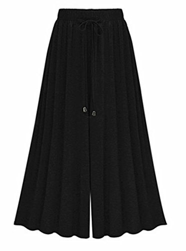 Damen Lose Weites Bein Hose Elastische Taille Hosenrock Capri Hose Freizeithose Große Größe (Größe 46-48, Schwarz)