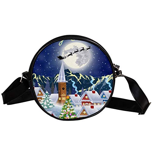 Bennigiry Damen Umhängetasche mit Weihnachtsbaum und Schneemann mit Geschenkbox mit Mond Weihnachtsmann Schlitten Silhouette Damen Umhängetasche Top Handtasche