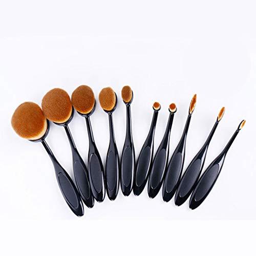 Brosse de maquillage du type brosse à dents, ensembles de pinceaux de maquillage ovales de 10 pièces, caractéristiques: poudre, cache-cernes, contour, fond de teint, mélange, sourcils et pinceaux pour