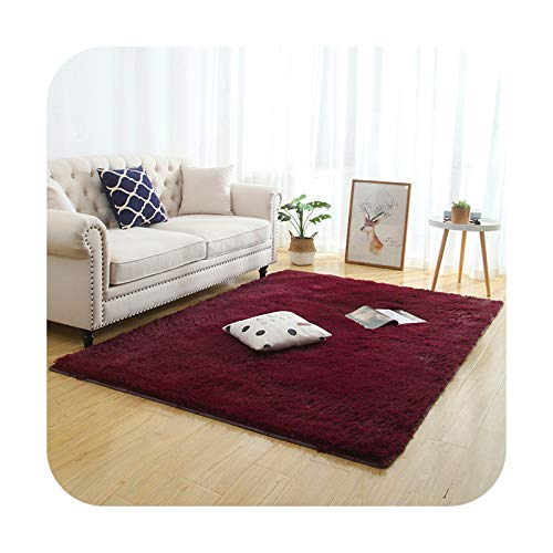Silky Fluffy Carpet Modern Home Decor Lang Plush Shaggy Rug Children Play Matte Sofa Living Bedside Matte Balcony Carpets WineRed 60 x 160 cm