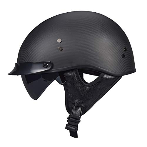 VCOROS Carbon Fiber Open Face Sun Shield Crusie Motorcycle Helmet (Flat Black, XL)