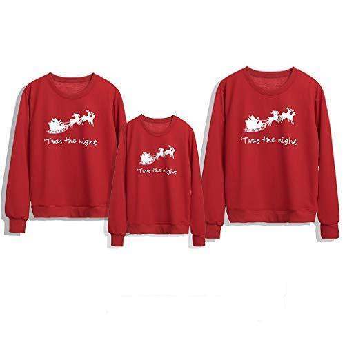 VJGOAL Sweat Femme Homme Enfant Rouge Manches Longues T-Shirt Chic Sweet Festival Famille Vêtements De Noël Wapiti Imprimé Parent-Enfant Hauts Mignon Mode Sweatshirt XS-2XL