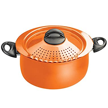 Bialetti 07258 Oval 5 Quart Pasta Pot with Strainer Lid, Orange