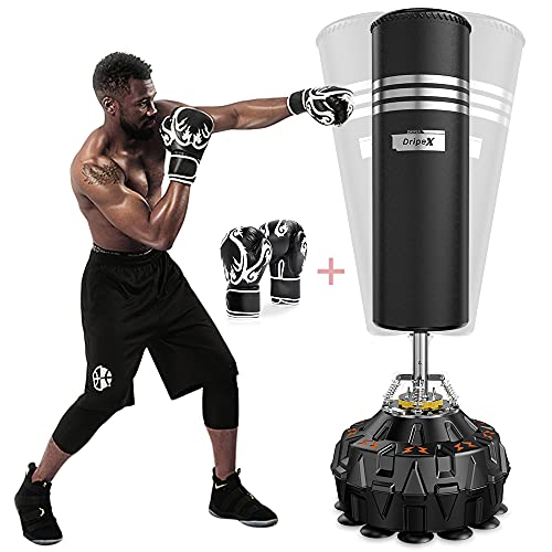 Dripex Freestanding Punching Bag 70''-182lbs with Boxing Gloves Heavy Boxing Bag with Suction Cup...
