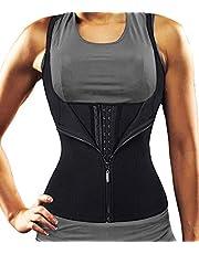 DUROFIT Justerbar bastu kostym svett kostym midja tränare väst för kvinnor viktminskning svart
