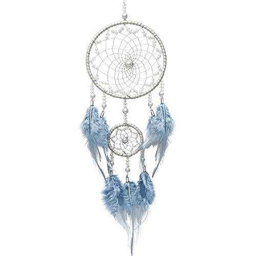 Handgemaakte Dream Catcher Indian Wall Hanging, 2 ringen cirkel veren Craft Dreamcatcher voor slaapkamer auto accessoires, Decor Ornament voor spiegel geschenken meisjes kinderen - blauw zilver