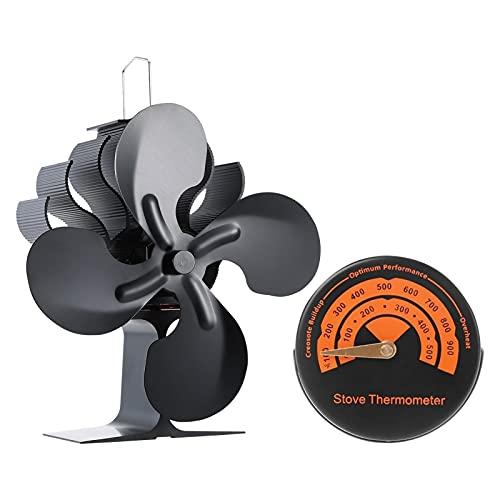 Ventilador de estufa con calor de 4 cuchillas, ventilador de estufa de leña respetuosa del medio ambiente para leña/quemador de leña/chimenea (tipos:D)