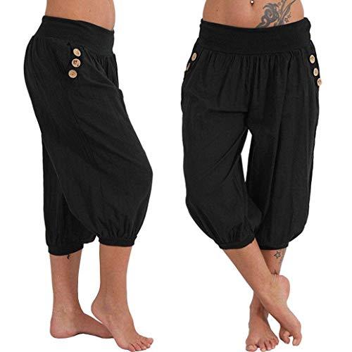 Kneris Mujer 3/4 Capri Pantalones Harén Pantalones Cortos de Verano de Yoga Aladin...