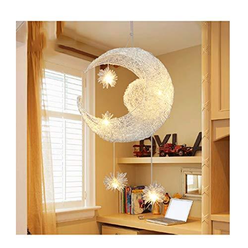 William 337 Lustre LED - Lustre de décoration de chambre à coucher pour enfants étoiles et lune fée plafond (Couleur : Lumière blanche)