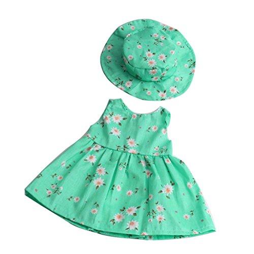 Uteruik Outfit di Fantasia per Ragazza Americana 18 '' (46 cm) Bambole Abito Floreale Set di Cappelli, 2pz Verde
