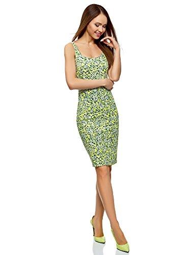 oodji Ultra Mujer Vestido-Camiseta de Tirantes de Punto, Verde, ES 36 / XS