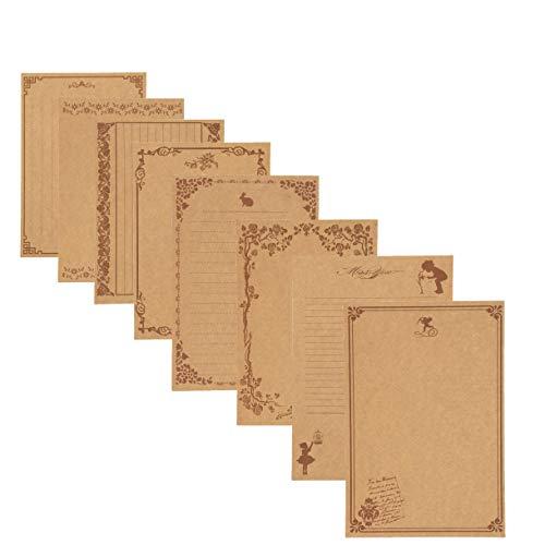 80 hojas de papel rayado vintage de la letra de escritura Papel bloc de papel Conjunto Surtido 40Pcs blanco de rayado de papel kraft y papel con membrete 40Pcs retro de la caligrafía Dibujo de bocetos