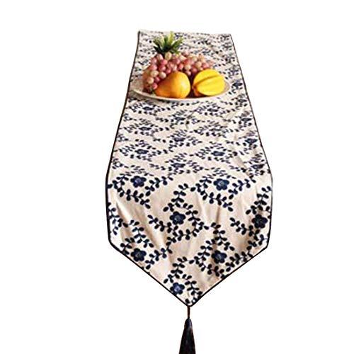 Dingziyue Tischdecke blau bedruckt Blätter rechteckig Tischflagge Dekoration Tischdecke für Familie Dekoration, Baumwolle und Bettzeug, blau, 32*180CM