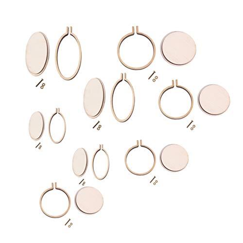 Healifty 8 piezas mini aros de bordado marcos de bordado aros de punto de cruz redondos y ovalados para manualidades de arte coser y colgar