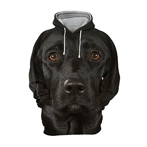 Iceiceice Unisex 3D Grafik Hoodies Tiere Hunde Labrador Schwarz Kapuzenpullover Damen Kapuzenpullover Herren (KID1)