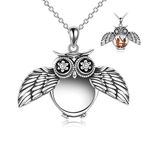 YFN Owl Locket Necklace that Holds Pictures for Women Sterling Silver Forever in My Heart Owl Jewellery Gifts for Girls Mum Daughter Birthday