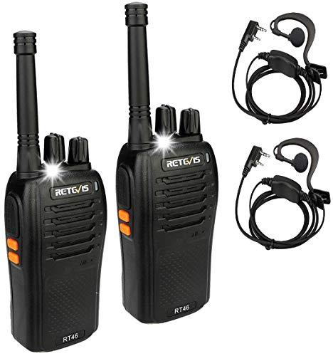 Retevis RT46 Walkie Talkie PMR446 sin Licencia Linterna LED 16 Canales Walkie Profesionales con Auricular Escaneo MONI Squelch Walkie-Talkies para Exteriores (Negro, 2 Piezas)