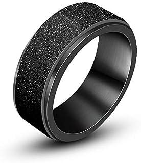 Women's & Men's Stainless Steel Sandblast Finish Lucky Ring Band Fashion Stainless Steel Spinner Ring Sand Blast Finish