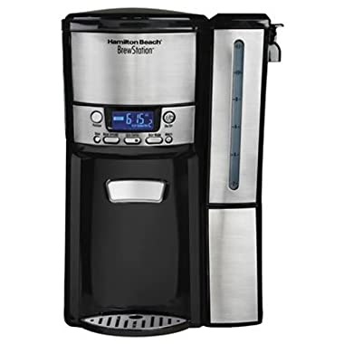 Hamilton Beach (47950) Coffee Maker with 12 Cup Capacity & Internal Storage Coffee Pot, Brewstation, Stainless Steel