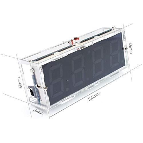 DIY LED digitale klok kit, LED klok met tijd/temperatuur/datum weergave, automatische lichtregeling, eenvoudige digitale klok, bouwset voor beginners en elektronica-professionals, wit