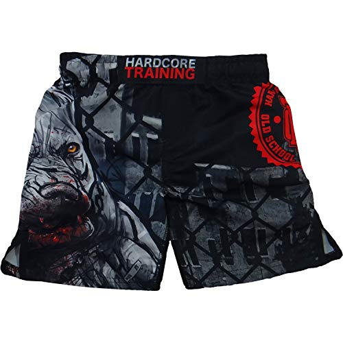 Hardcore Training Pitbull City Black/Red Kids Boxing Shorts Kurze Hose Kinder Boxen Fitness Kampfsport Muay Thai