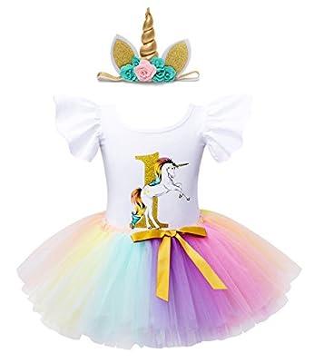Jurebecia Bebé Niñas Es mi Primer cumpleaños Trajes Conjuntos Princesa Vestido Tutu 3 Piezas Unicornio Mameluco + Falda + Diadema