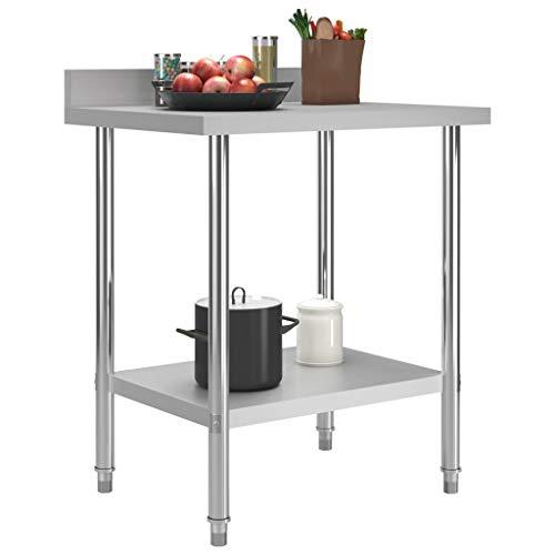 Festnight Küchen-Arbeitstisch mit Aufkantung 80 x 60 x 93 cm Edelstahl Gastronomie Gastro Edelstahltisch Küchentisch Zerlegetisch