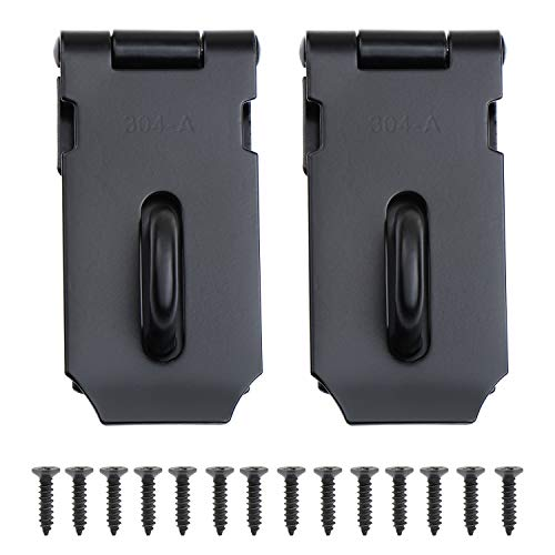 WiMas 2PCS 3 Zoll Schwerlast Vorhängeschloss, Sicherheits Überfalle, Edelstahl Türschloss Hasp, Schuppentürriegel (schwarz)