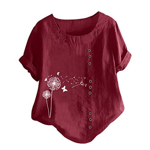 Tuniken Leinen Mädchen Top Hemd Bluse Schmetterling Druck Shirt Oversize T-Shirt Damen Kleidung Leinen T Shirt Wein #18 XXL