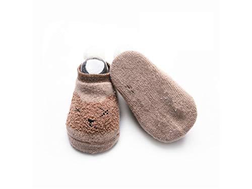 Bébé Cadeau doux enfants Coton Chaussettes enfants Printemps Coton antidérapant Sol Chaussettes de tube court (Marron)
